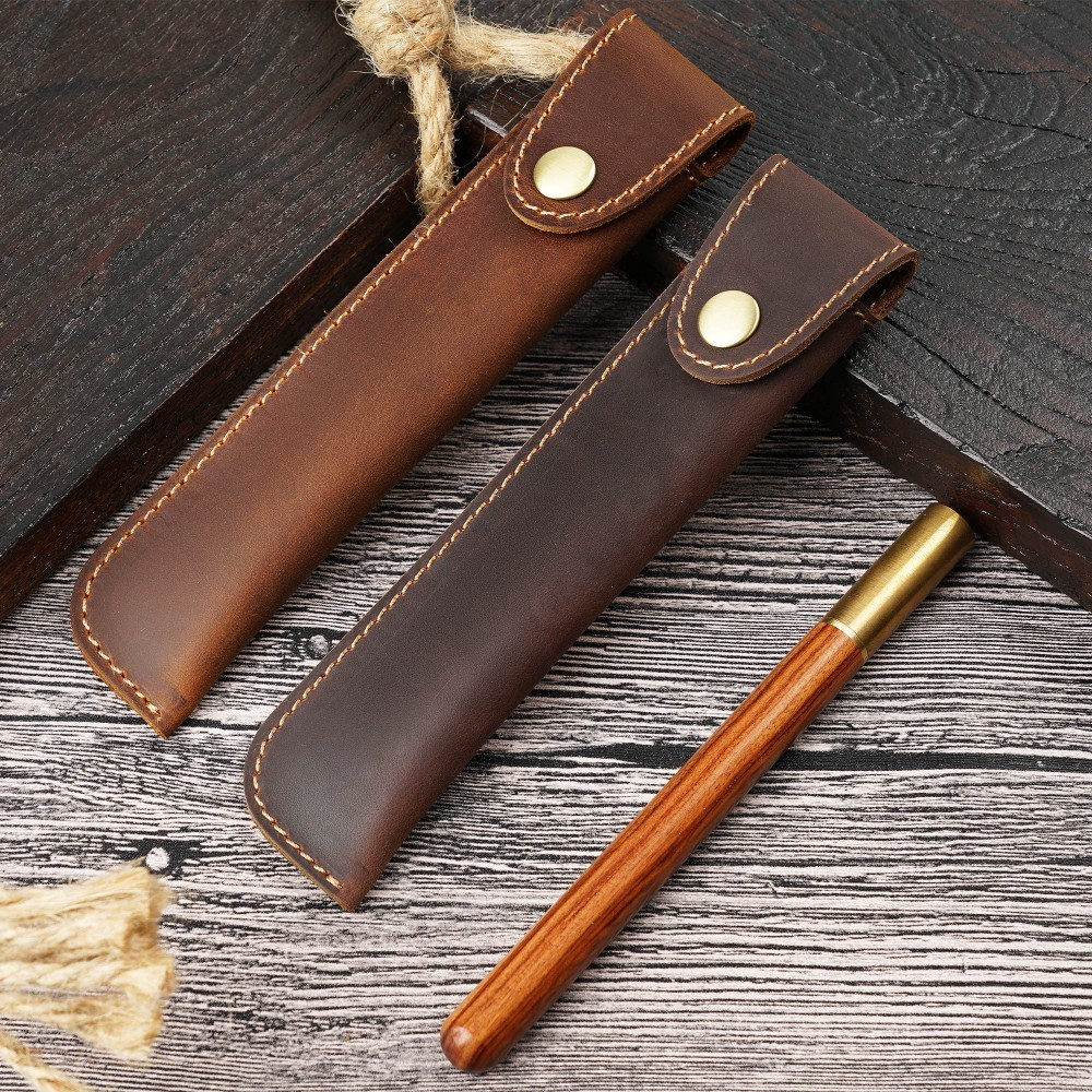 Handmade Genuine Leather Pen Bag Cowhide Pencil Case Vintage Retro Style Handmade Creative School Stationary in Pencil Bags from Office School Supplies