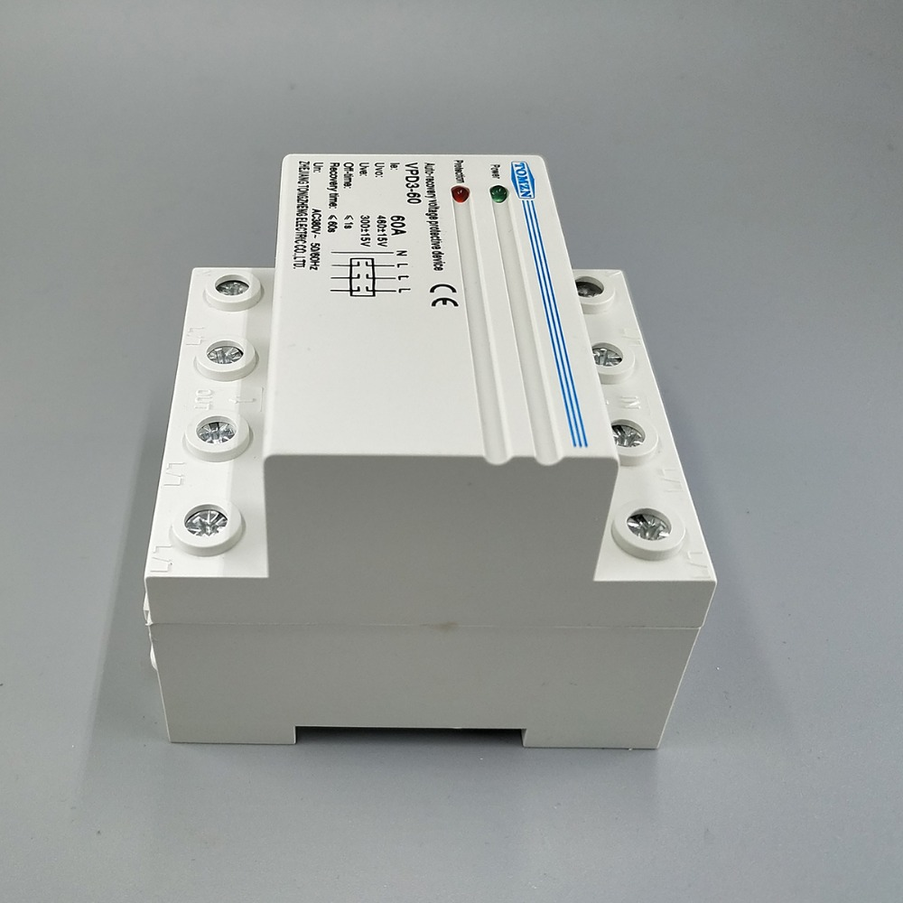 60a 380v Three Phase Four Wire Din Rail Automatic Recovery Or Single 240 Volt 60 Hz A 208 Reconnect Over Voltage And Under Protective Protection Relay In Circuit Breakers From