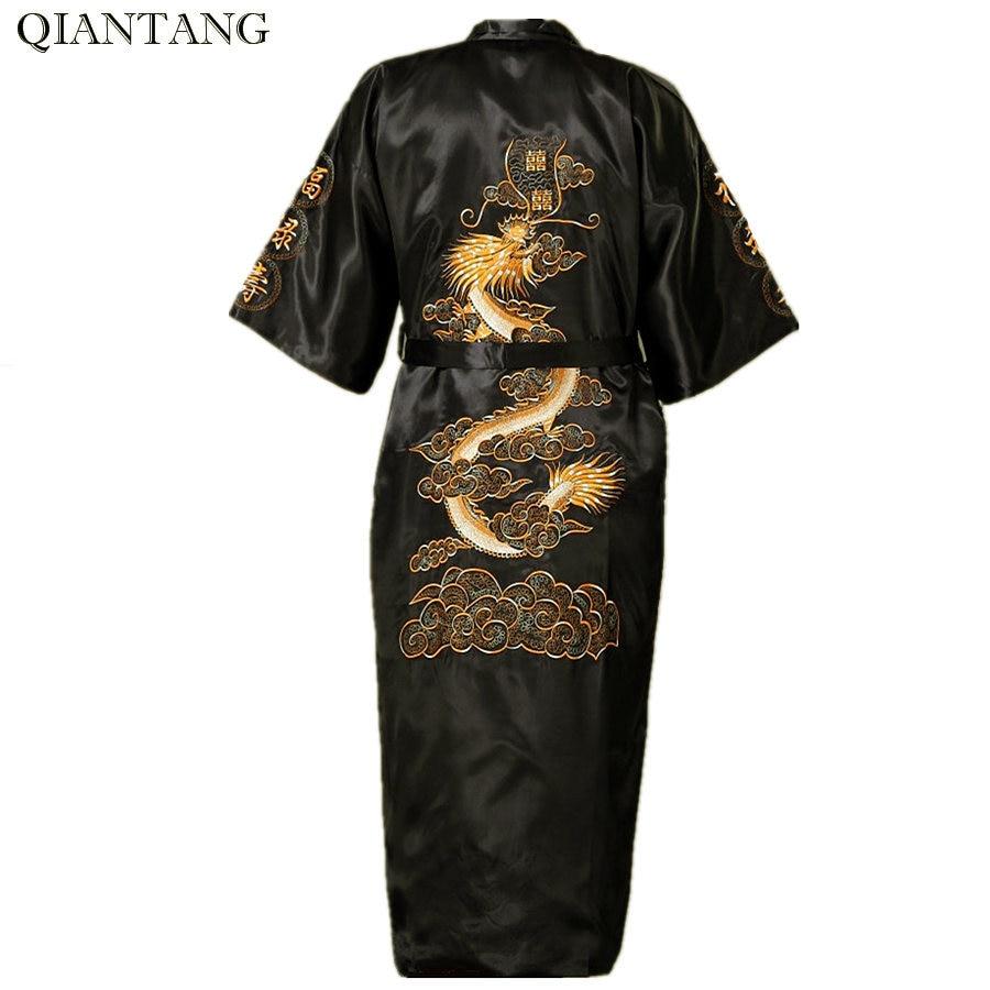New Arrival Black Chinese Men's Silk Satin Robe Novelty Embroidery Kimono Bath Gown Dragon S M L XL XXL XXXL Hombre Pijama S0011