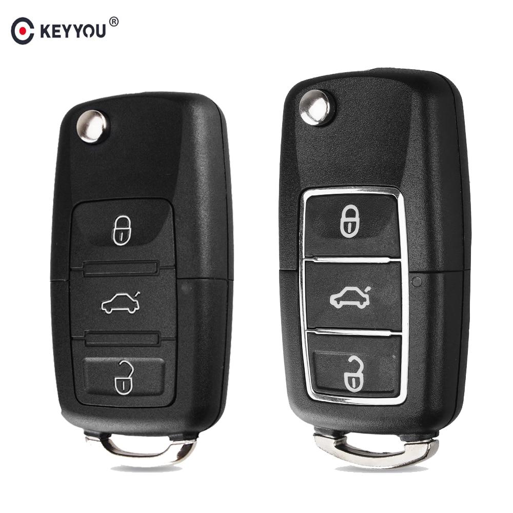 KEYYOU 3 Button Remote Flip Folding Car Key Shell Fob Case For Volkswagen Vw Jetta Golf Passat Beetle Polo Bora