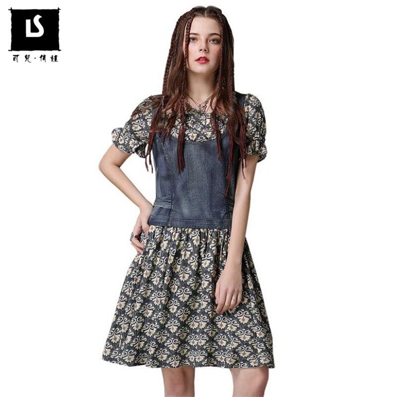 Brands Clothes Behind Drawstring Bow Design Summer Denim Splice Dress Women Casual Ladies Vintage Print Party