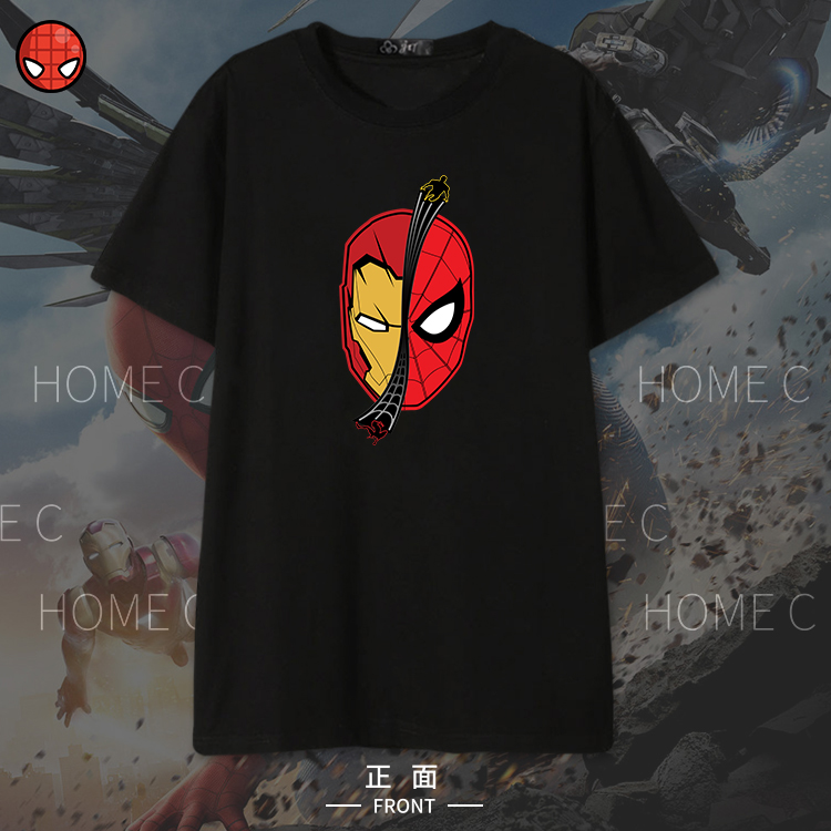 [Stock] Spiderman Homecoming Iron Man T-shirt Summer Cotton Round Collar Youth Unisex Cosplay Top Plus Size Free Shipping