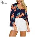 SESOAF Мода Причинно Женщины блузка Шифон V шеи синяя блуза цветок весенний стиль уличной Женская Одежда Blusas BRP21101