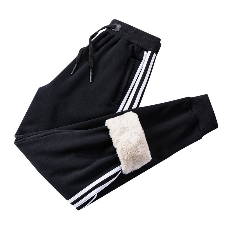 Winter Joggers Men Casual Slim Fit Sweatpants Men Trousers Side Stripe Warm Tracksuit Cashmere Thickening Sportswear Track Pants