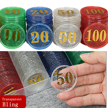 Transparent-Count Numbers-Chips Tokens Coins Plastic Gaming Special-Bling for 38mm 40pcs/Lot