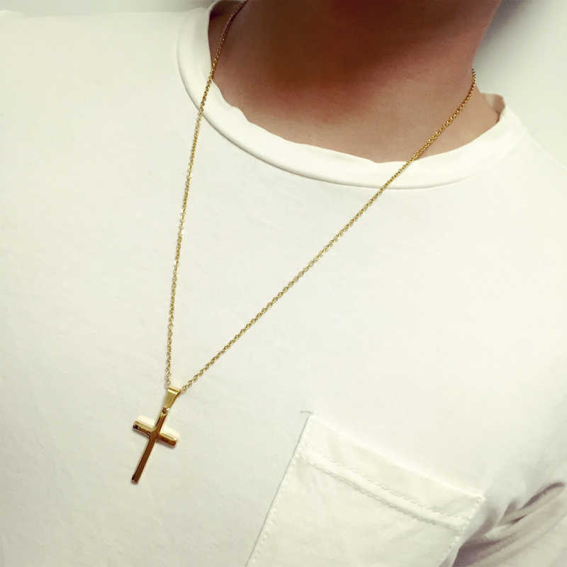 Cross Pendant Necklace Men's Stainless Steel Crucifix Jewelry Women's Necklace Fashion HZP159