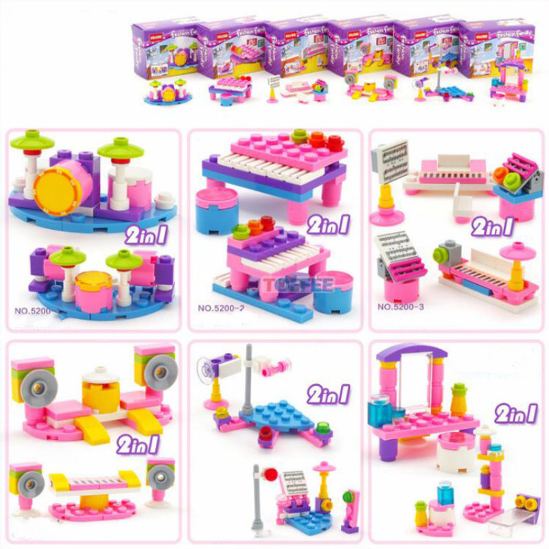 Mini Blocks Fashion Family Series Musical Occasion Piano Drum Stage Model Building Toy Compatible with Legoings Bricks for Girls