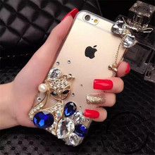 For iPhone 5 5S 6 6S 7 Plus Fashion Glitter Diamond bowknot Crystal Rhinestone Fox Phone Case Soft Rubber Back Cover Handmade