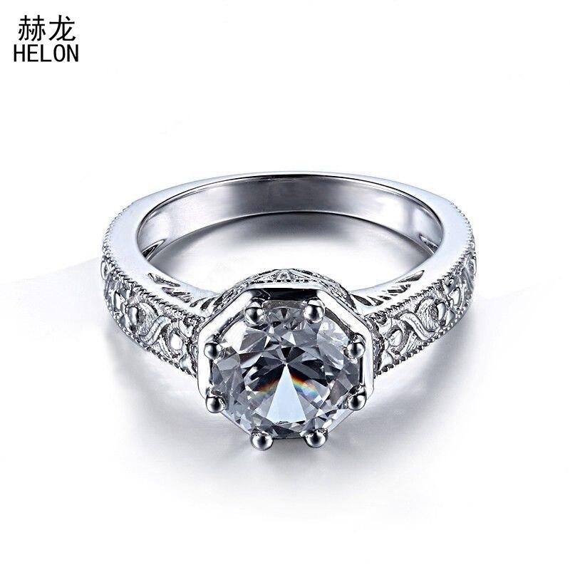 Engagement Vintage Antique 8mm Round Cut 2.6CT 100% Genuine White Topaz Sterling Silver 925 Ring Art Deco Women Jewelry Ring серьги art silver art silver ar004dwzmh30