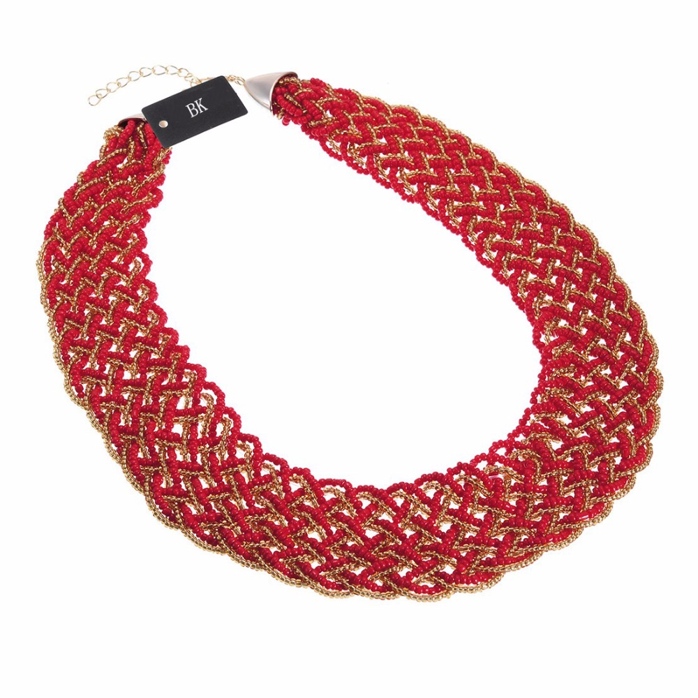 BK Fashion Multicolor Gold Chain Resin Seed Beads Chunky Choker Statement Pendant Bib Necklace