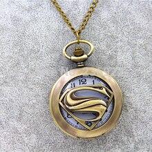 ZRM 20 шт./лот Модные ювелирные изделия винтажный Шарм Супермен логотип S карманные часы ожерелье мужское ожерелье