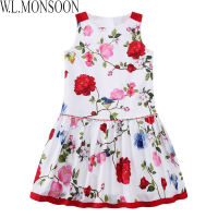 W L MONSOON Girls Summer Dress 2017 Brand Children White Floral Dress Princess Costumes Kids Beading