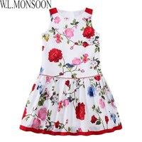 W L MONSOON Girls Summer Dress 2017 Brand Children White Floral Dress Princess Costumes Kids Beading