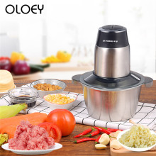 Household Electric Double Stainless Steel Meat Grinder 2L Commercial Multi-function Vegetable Ground