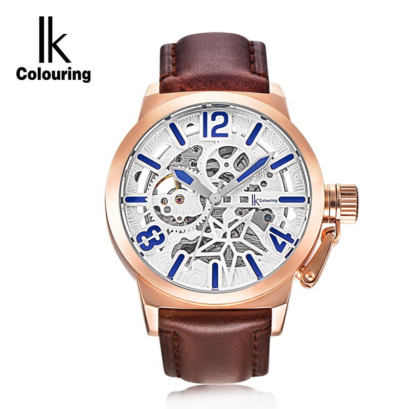 IK Colouring Luxury Casual Clock Men Automatic Watch Skeleton Business Watch Mechanical Relogio Male Montre Watch Mens Relojes ik colouring gold skeleton mechanical hand wind watches men luxury brand business dress silver steel watch male clock relogio