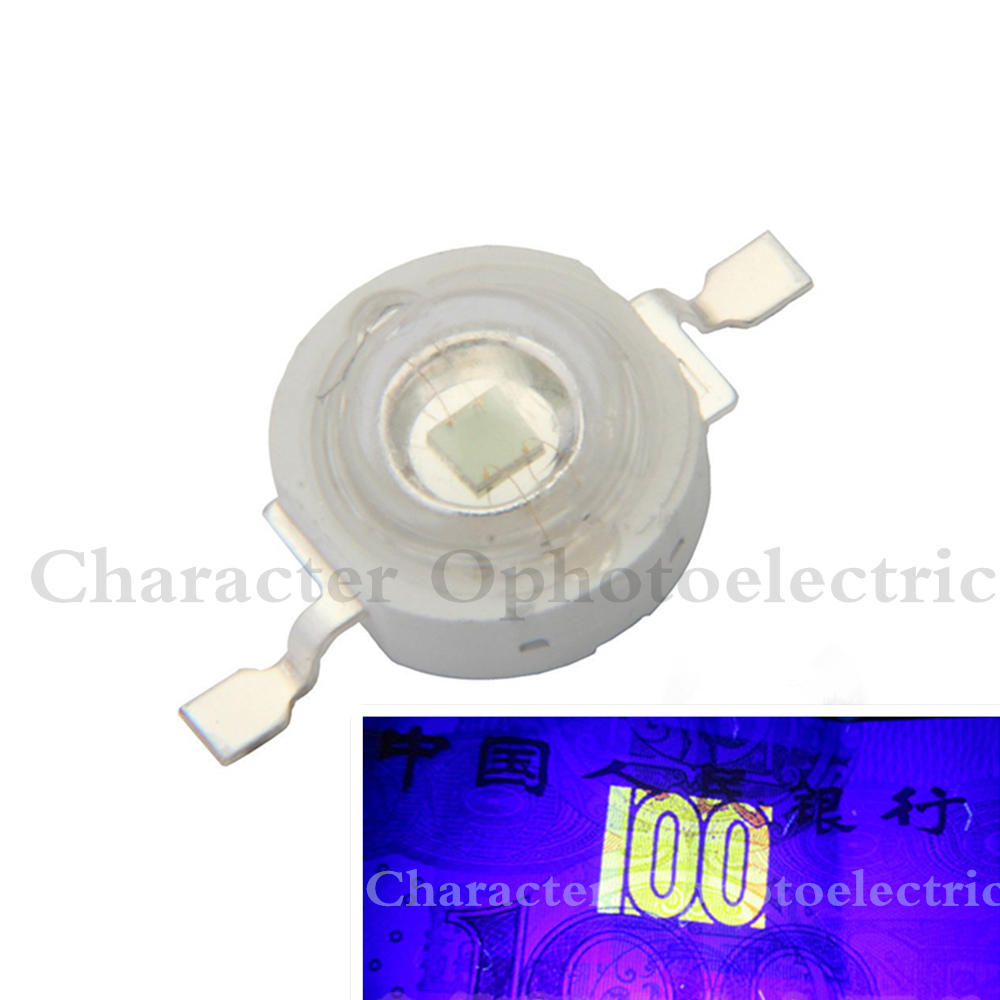 10pcs <font><b>3W</b></font> <font><b>UV</b></font> <font><b>LED</b></font> Ultraviolet Bulbs Lamp Chips 365nm 375nm 380nm 385nm 395nm 400nm 405nm 410nm 420nm <font><b>3W</b></font> with/Nowith 20mm Black PCB image