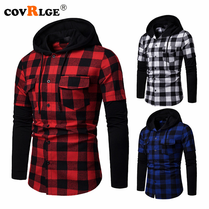 Covrlge Fashion Plaid Hooded Dual Pockets Long Sleeve Men's Casual Slim Fit Shirt Top Lumberjack Check Shirt Jack Clothes MCL205