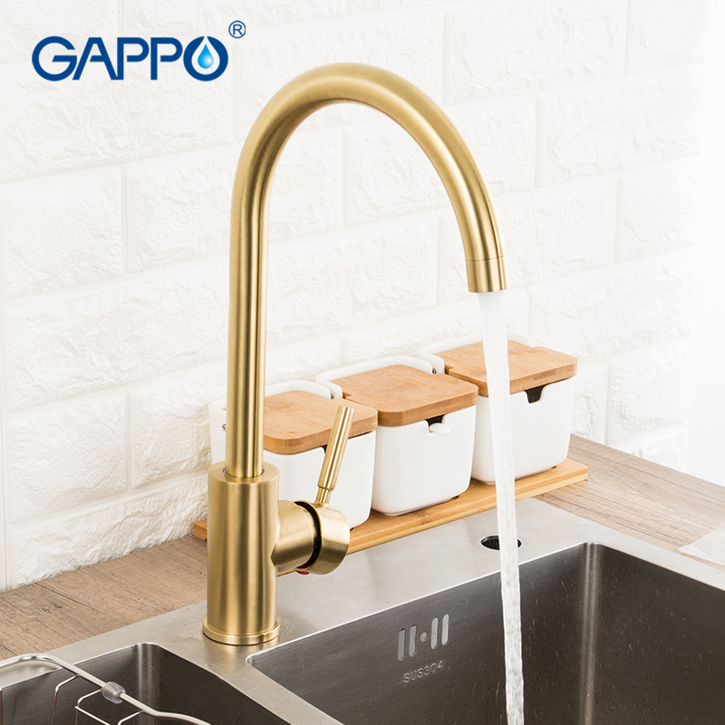 gappo kitchen faucets brushed gold kitchen sink faucet 304 stainless steel water tap hot and cold kitchen faucet tap torneira