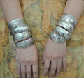 2015 Gypsy Bohemian Factory Wholesale Tibetan Jewelry Vintage Silver Bangles Antique Ethnic Statement Cuff Bracelets B0108