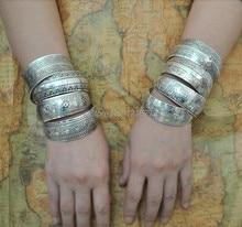 2015 Gypsy Bohemian Factory Wholesale Tibetan Jewelry Vintage Silver Bangles Antique Ethnic Statement Cuff Bracelets B0108
