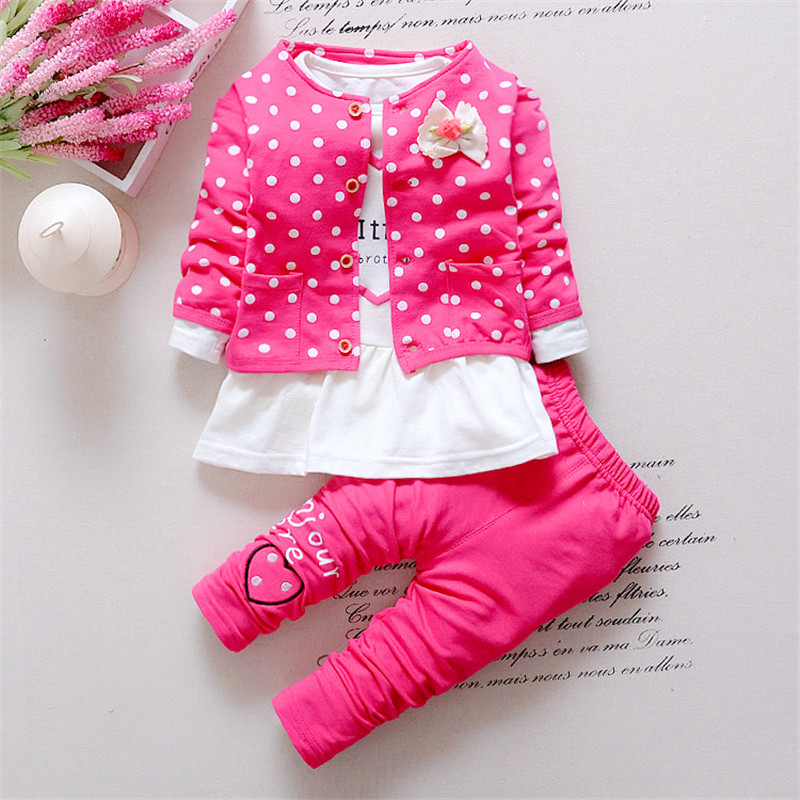 BibiCola Baby Girl clothing Sets kids 3PCS coat+ T shirt + Pants children Cute Princess Heart-shaped Print Bow baby girl outfits цена