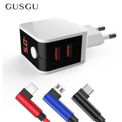 GUSGU cyfrowy wyświetlacz LED podwójna ładowarka USB do iphone'a przenośna inteligentna ładowarka do Samsung Xiaomi uniwersalny kabel do telefonu komórkowego