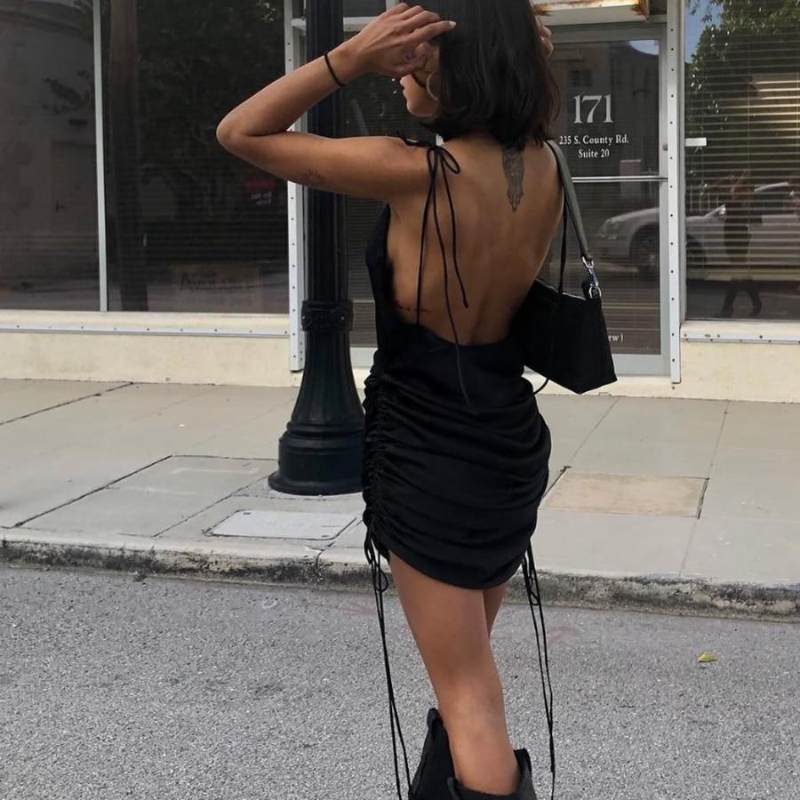 Macheda Fashion Women Solid Spaghetti Straps Backless Sleeveless Sexy Dresses Bottom Length Adjustable Ladies Casual Dress Ne'w 3