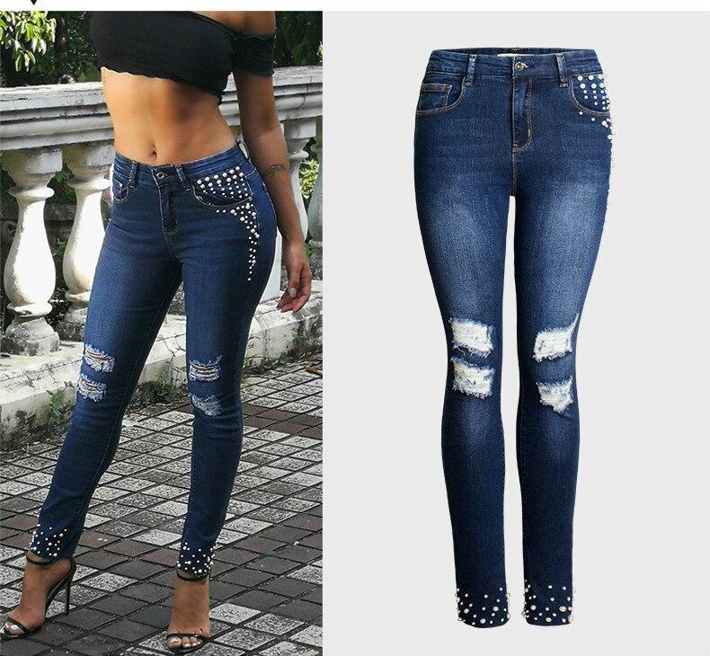 QMGOOD Haute Qualité Skinny Jeans Femme De Mode Perle Perles Plus La Taille Jeans Déchiré Maman Jeans Femmes Denim Stretch Crayon Pantalon