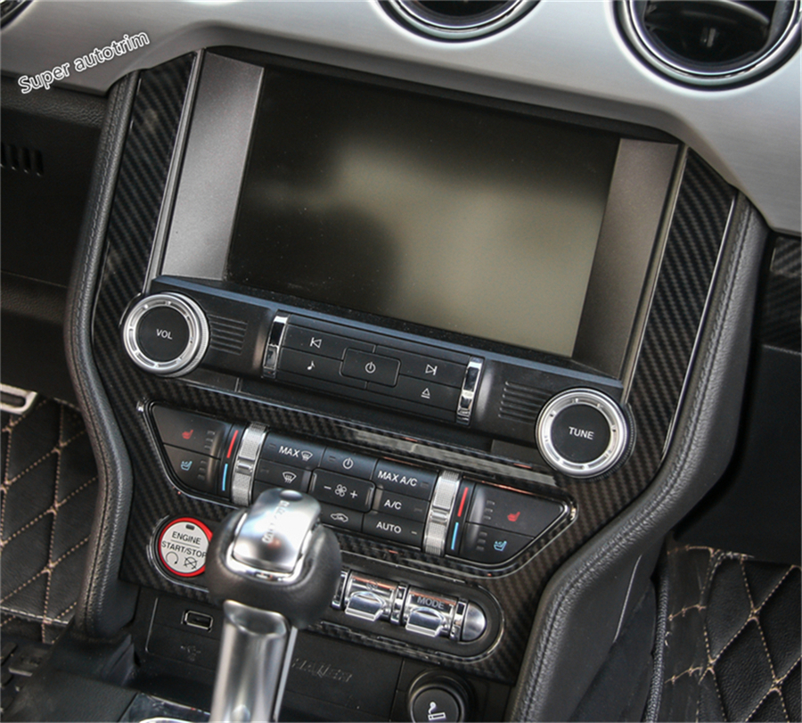 Lapetus Accessories For Ford Mustang 2015 - 2018 Middle Central Navigation Display Screen Cover Trim / ABS Carbon Fiber Style accessories for chevrolet camaro 2016 2017 abs carbon fiber style the co pilot central control strip molding cover kit trim