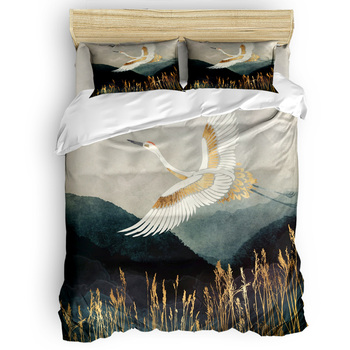 Custom Flying Crane Duvet Cover Set Retro Mountain Sky Nature Collection of 3/4pcs Autumn Bedding Set Bed Sheet Cover Set