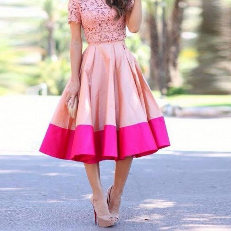 Free Shipping Women Skirts 2 Colors Pleat A Line Midi Skirt Casual Dream Wear Jupe Femme Satin Skirt