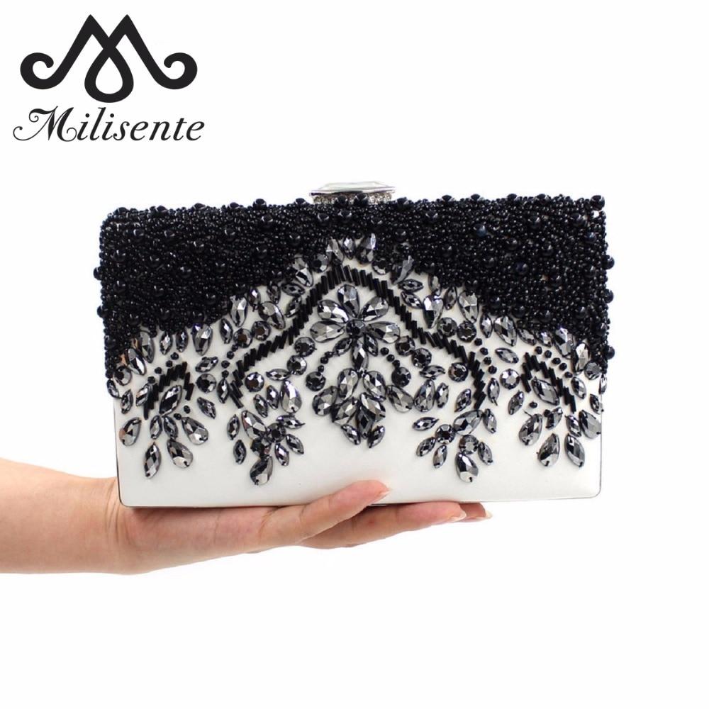 Milisente női tengelykapcsoló táska női esküvői táskák fekete fehér egyszerű elegáns kristály táskák női kézzel készített vintage gyöngyös táska