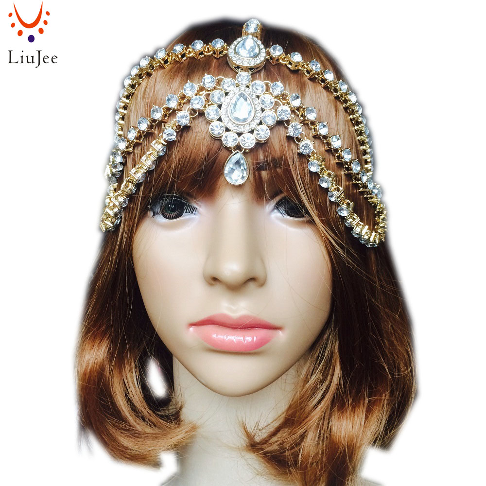 LiuJee KD085 Handmade Kundan Head Chain Hair Jewelry Matha Patti Prom Wedding Tikka Bridal Headdress Bohemian Goddess Boho Glam брюки glam goddess glam goddess mp002xw1af2v page 1
