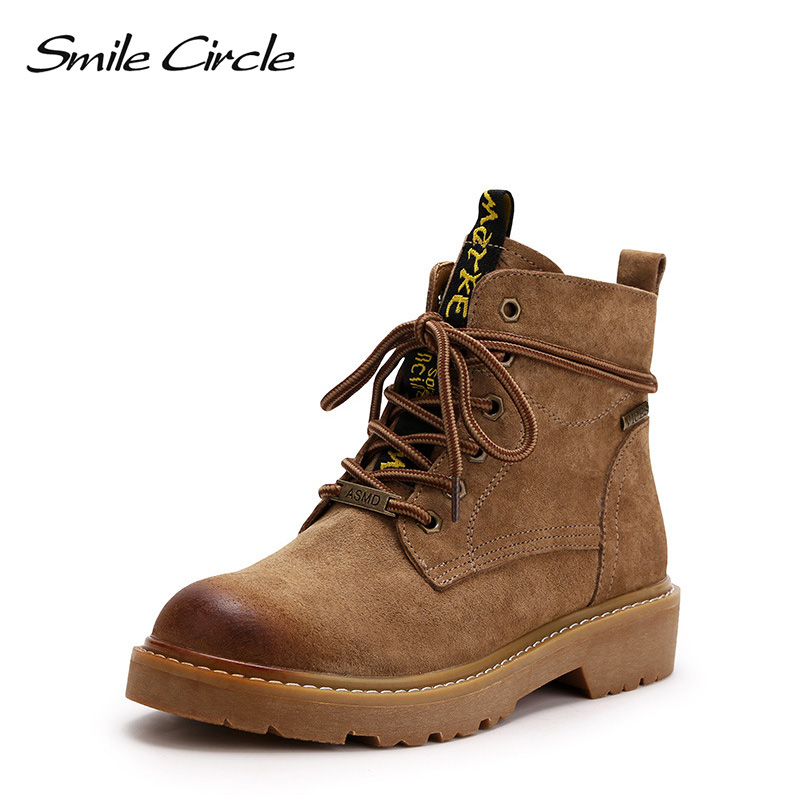 Smile Circle Ankle Boots Women round toe Genuine Leather Short Boots Autumn winter Lace-up Platform Shoes for women new fashion home massage cushion chair cushion heating pad germanium stone cushion tomalin ochre buffer s office