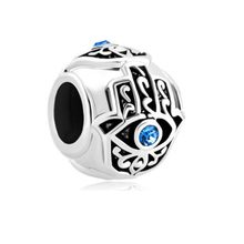 Free shipping Births Blue Crystal Evil Eye Charm On Islamic Hamsa Hand Of Fatima Fit Pandora bracelet(China)