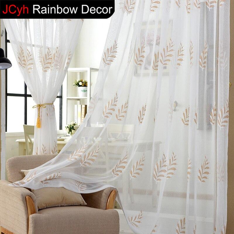 Tüll Vorhänge Wohnzimmer Bestickt Voile Pastoralen Vorhang Für Schlafzimmer  Jalousien Leinen Weiß Tüll Vorhänge Für Kurz