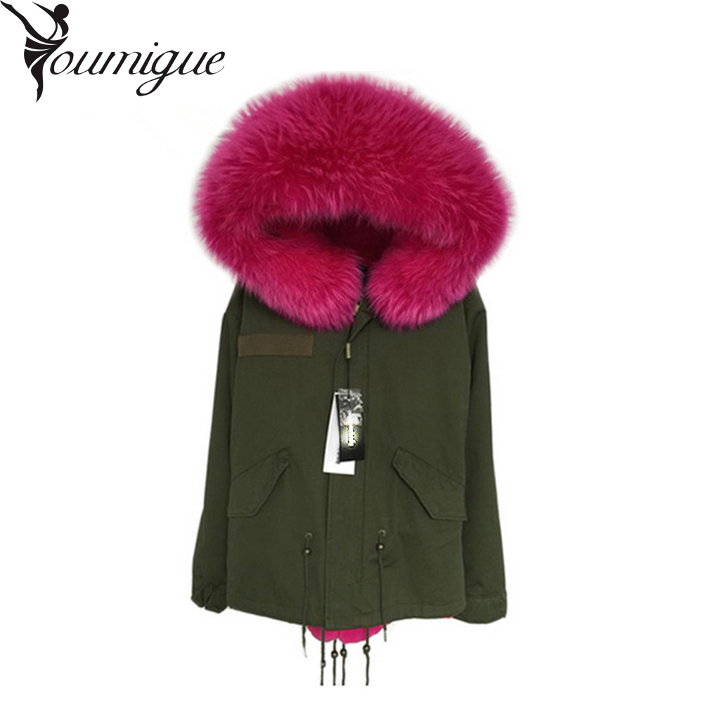 YOUMIGUE Army Green Parka Real Fur Collar Winter Coats ...