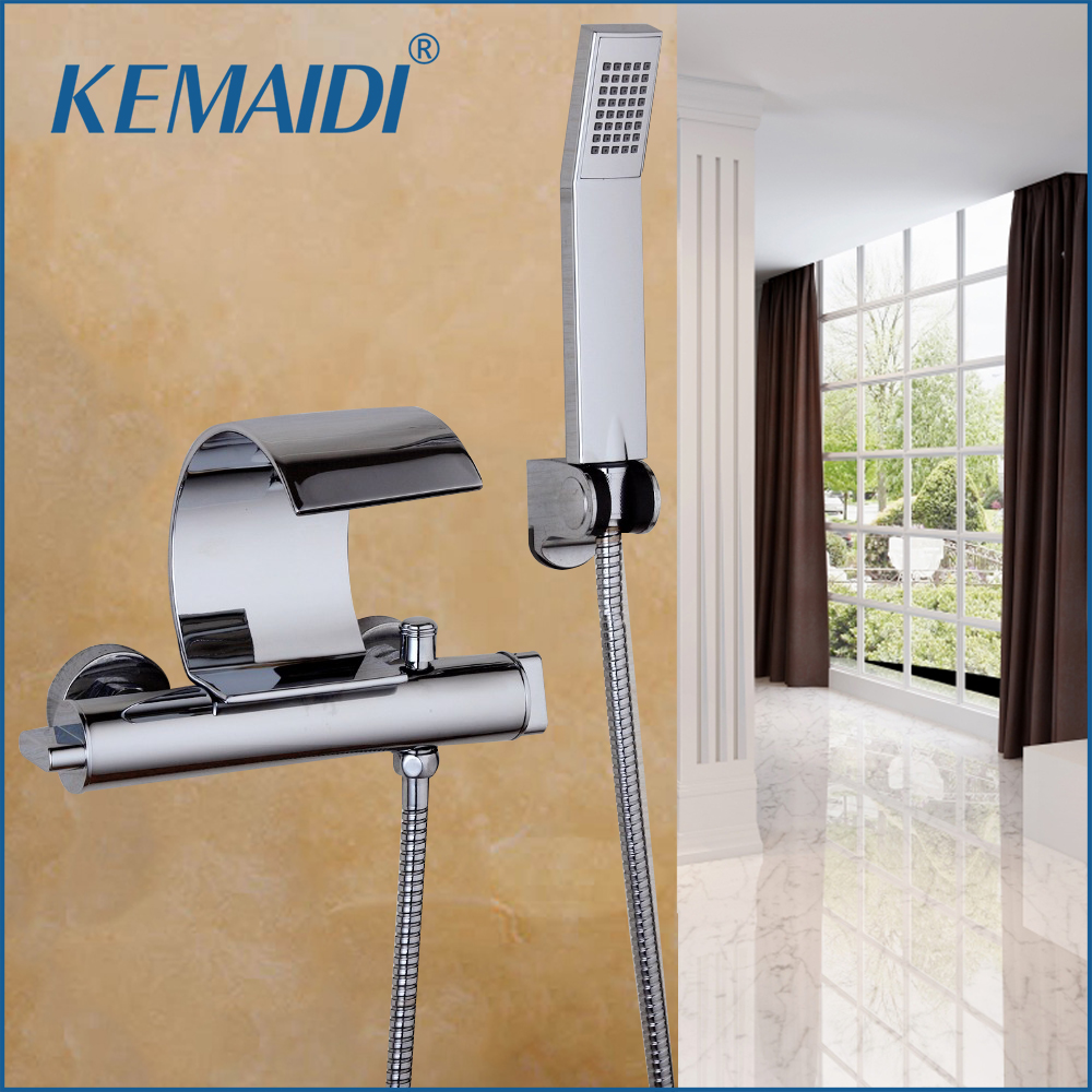 KEMADI Bathroom Bathtub Wall Mounted Chrome Polished Solid Brass Waterfall Spout  Dual Control hand Sprayer Shower Faucet SetsKEMADI Bathroom Bathtub Wall Mounted Chrome Polished Solid Brass Waterfall Spout  Dual Control hand Sprayer Shower Faucet Sets