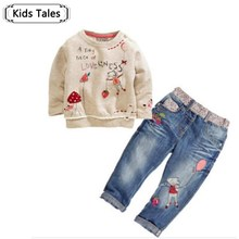 New Arrival Toddlers Cute Baby 2 pcs Baby Sets With Long Sleeve Jeans Baby Sets Spring
