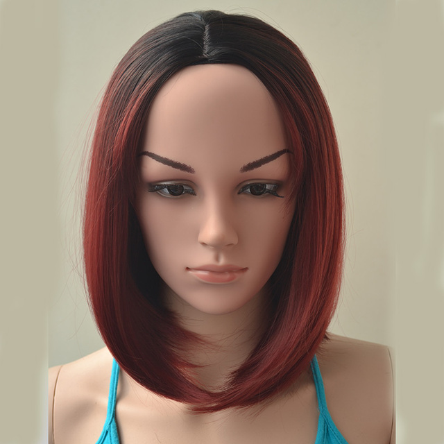 Heat Resistant Short Wine Red Wigs For Black Women Natural Hair ...