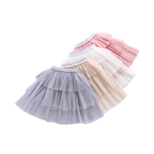 3-12Y Summer Baby Girl Clothes Pink Solid Tulle Long Tutu Skirt Children Tutus Pettiskirt Dancing Skirts Kids Clothing Costume