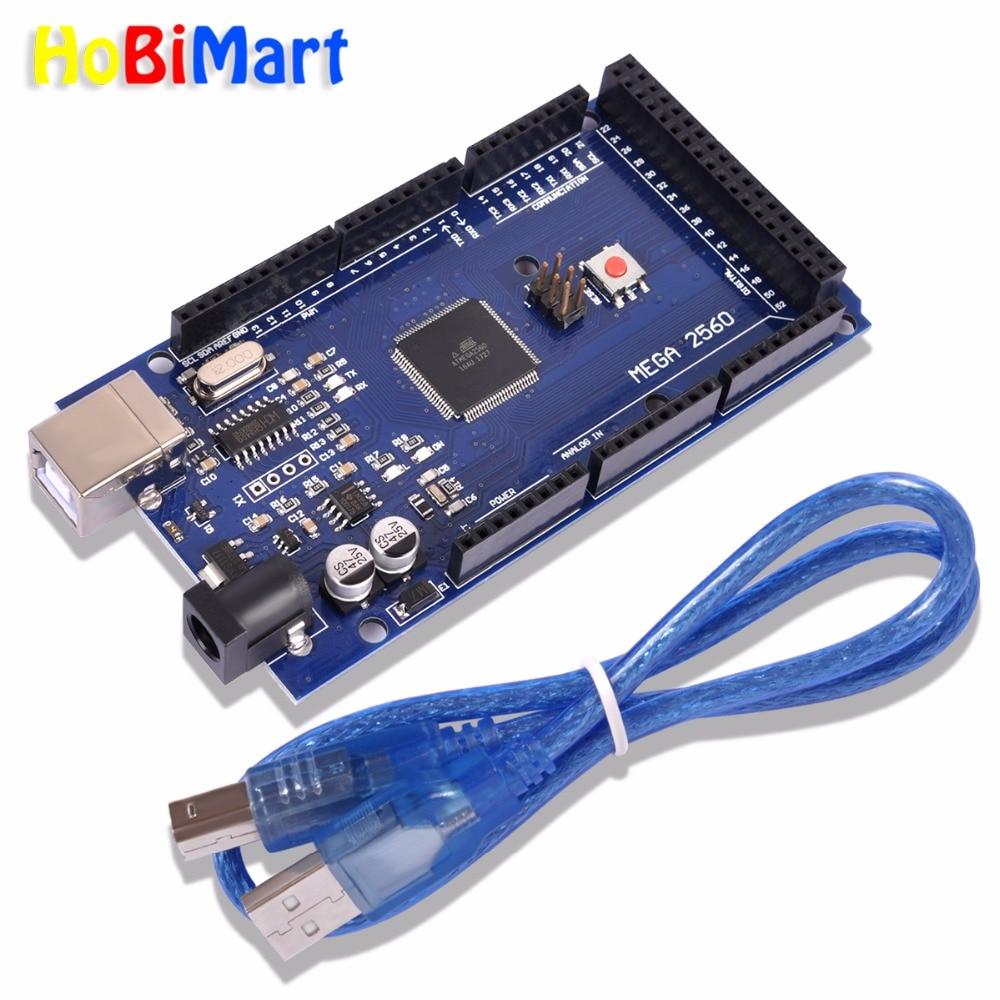 Hobimart MEGA 2560 conseil R3 Mega2560 REV3 (ATmega2560-16AU CH340G) Mega 2560 R3 compatible conseils pour Arduino uno Avec USB Câble