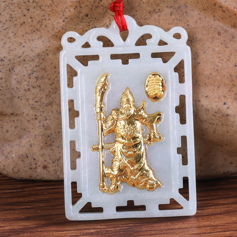 Martial God of Wealth Pendant Exquisite Hollowed Out Hetian Jade Pendant 24K Gold Jade Male Necklace Pendant 8602 Free Shipping pair of rhinestoned hollowed leaf anklets