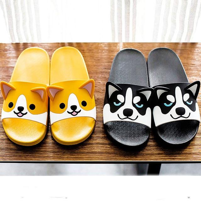 Women Girls Slide Sandals Cartoon Dog Cat Summer Animal Beach Slippers Platform Slides Shoes Ladies Soft Sole Flip Flops