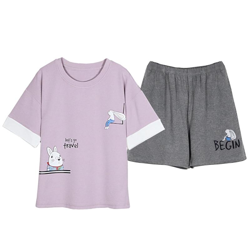 Image 3 - BZEL Top& Shorts Pajama Sets Women Short Sleeve Nightwear Cotton Homewear Round Neck Pijama Mujer Casual Sleepwear Lingerie 2pcsPajama Sets   -