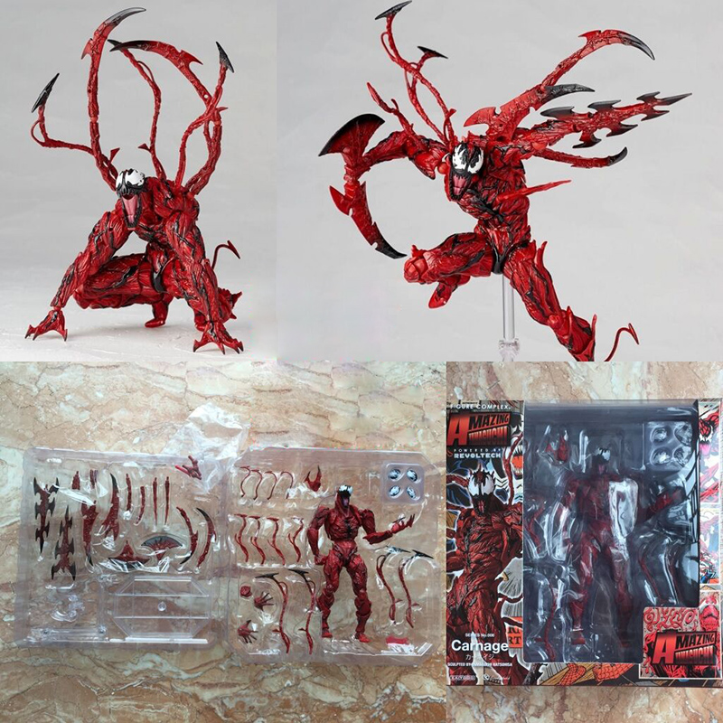 Revoltech Amazing Red Venom Carnage Amazing Captain America Spiderman Magneto Wolverine X-men Action Figures Toy Doll (59)