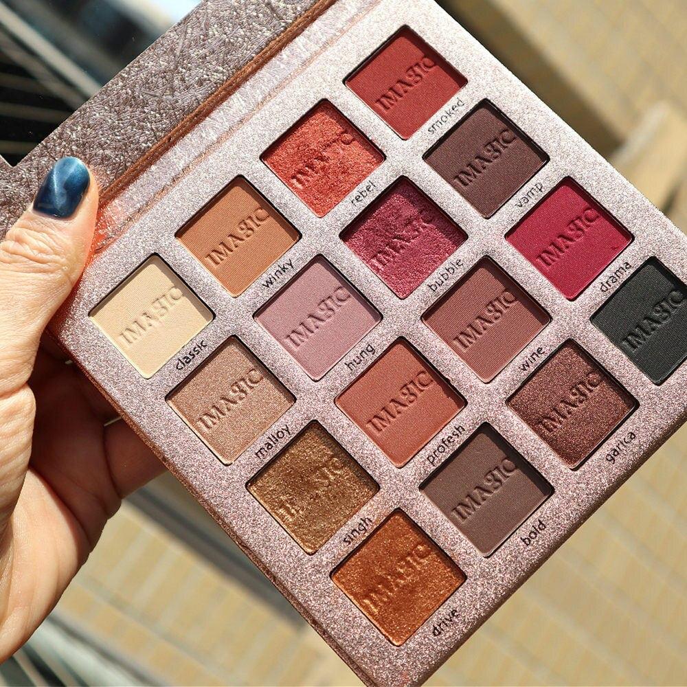 Sombra 16 Color impermeable maquillaje paleta mate Nude Shimmer sombra de ojos pigmentado en polvo maquillaje para ojos nuevo IMAGIC