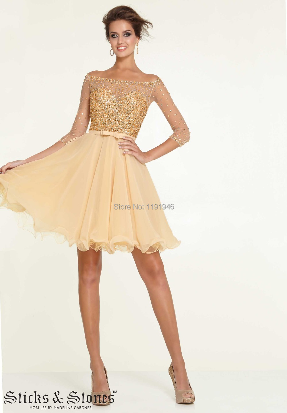 Aliexpress.com : Buy vestido de festa Long Sleeve Homecoming ...