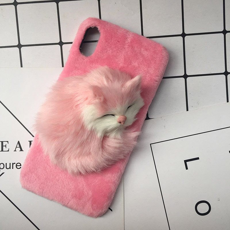 Lovely DIY Cat Furry Warm Phone Cases For iPhone X 8 Plus Hard PC Plush hair Fur Cover for iPhone 6 6S Plus 7 8 Christmas Gift (11)