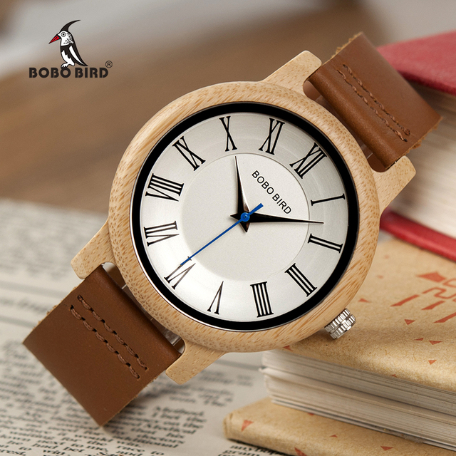 BOBO BIRD Bamboo Ladies Quartz Watches Men Wood Watch for Male Women as Gift relogio masculino